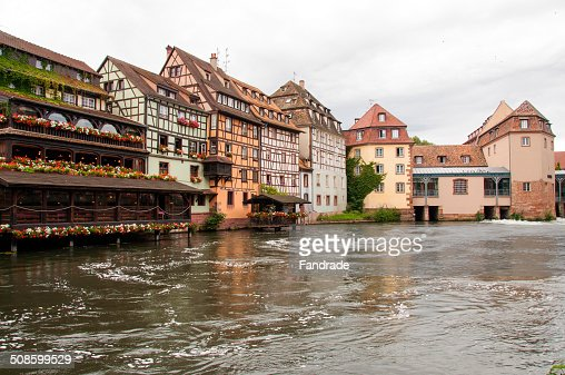 View Ill River and the city of Strasbourg : Stock Photo
