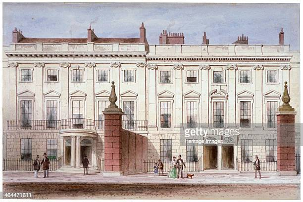 View in Lincoln's Inn Fields showing Lindsey House Holborn London c1835