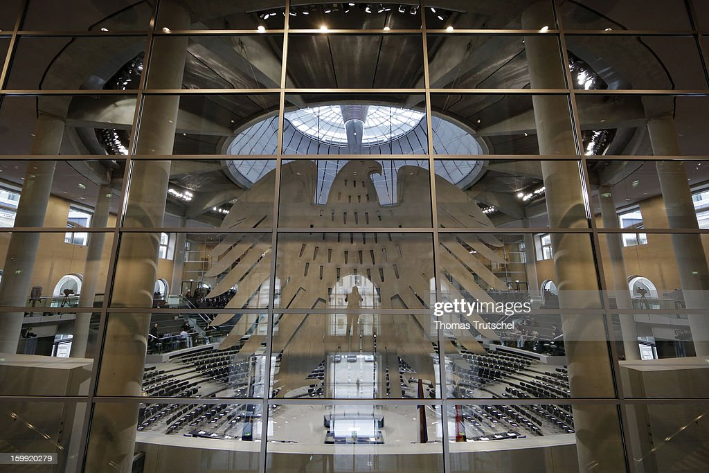 View in the Chamber of Reichstag, the seat of the German Parliament (Bundestag) on January 22, 2013 in Berlin.