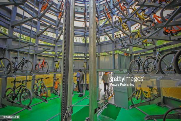 A view inside a smart bike storage at Tianjin University of Technology and Education on April 16 2017 in Tianjin China The eightmetertall and wide...