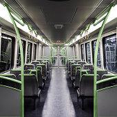 View Inside an Empty Passenger Train at Night