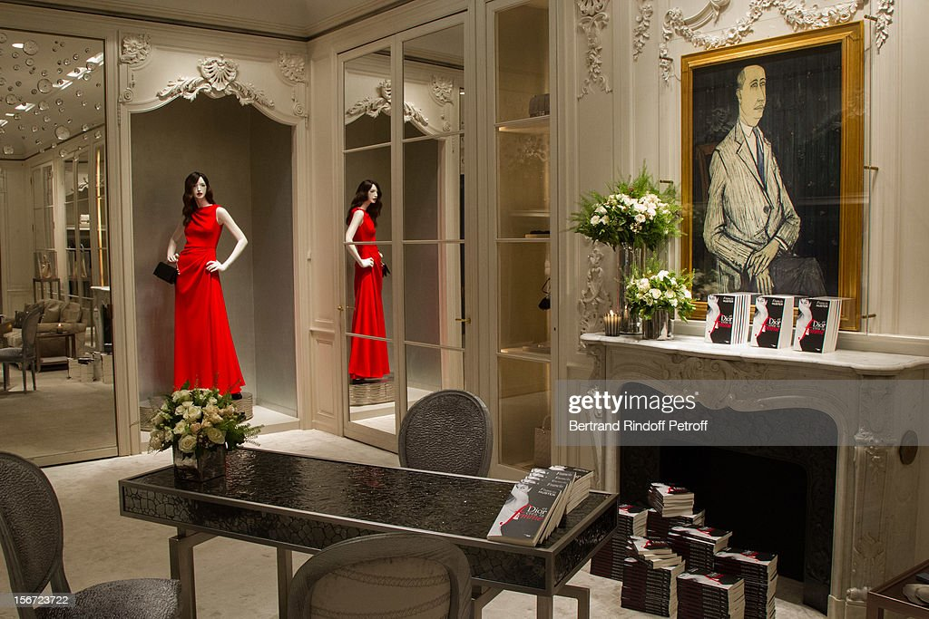A view inside Dior Boutique, with a 1954 portrait of Christian Dior by Bernard Buffet, during the signing of actor Francis Huster's book 'And Dior Created Woman' at Dior Boutique on November 19, 2012 in Paris, France.