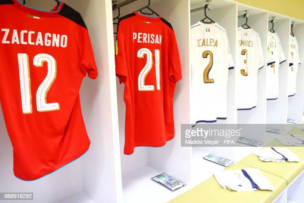 A view inside Italy's dressing room before the FIFA U20 World Cup Korea Republic 2017 group D match between Japan and Italy at Cheonan Baekseok...