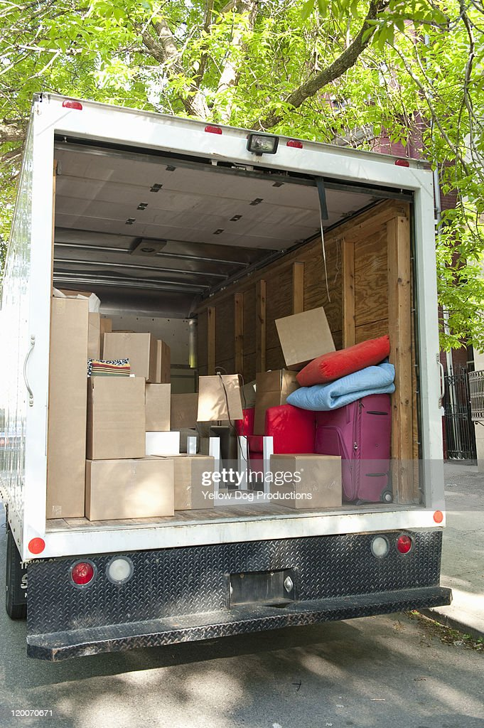 View inside loaded moving truck