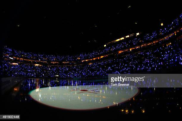 A view inside of the First Niagara Center before the start of a game between the Ottawa Senators and Buffalo Sabres on October 8 2015 in Buffalo New...