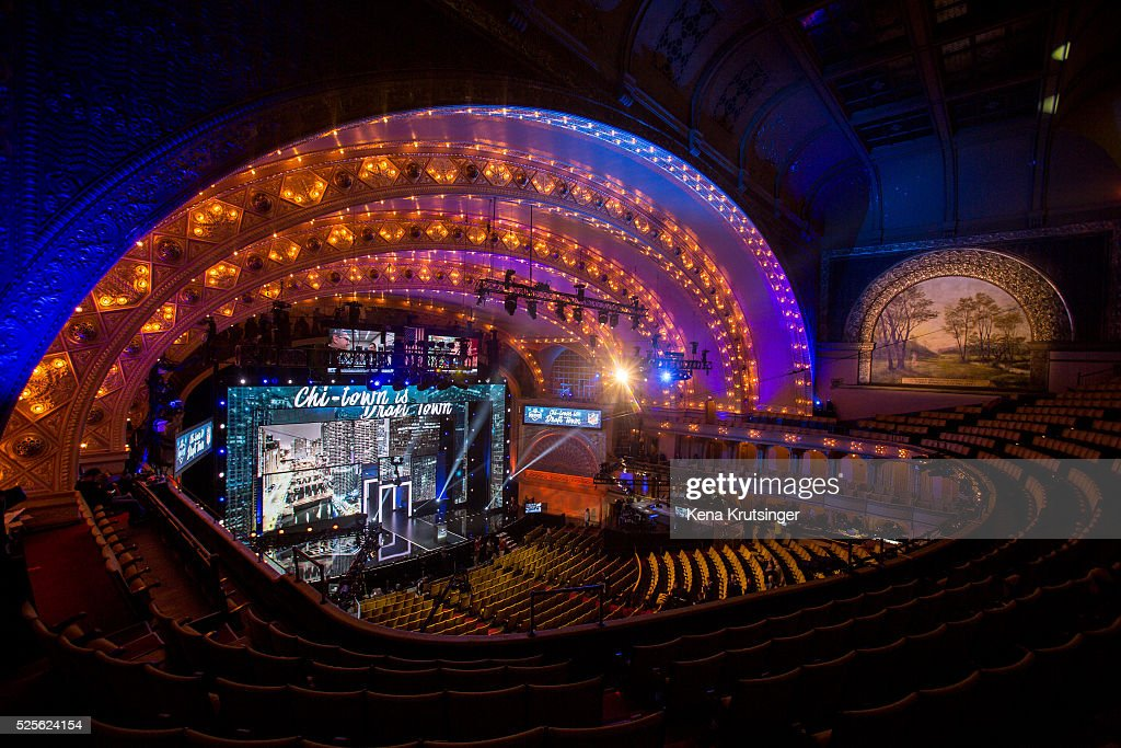A view inside of the Roosevelt Auditorium Theatre prior to the start of the 2016 NFL Draft on April 28, 2016 in Chicago, Illinois.