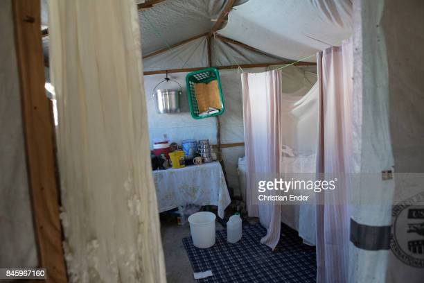 PortauPrince Haiti December 09 2012 View inside one of the improved tents in the refugee camp Parc Colofe in PortauPrince The camp exist since the...