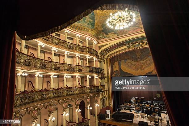 View inside the Amazonas Theatre in Manaus Brazil on November 26 2013 The opera house was built in 1896 in Italian Renaissance style with imported...