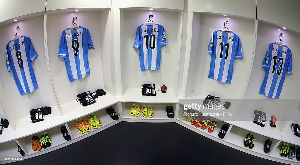 A view inside the Argentina dressing room before the FIFA U-17 World Cup UAE 2013 round of 16 match between Argentina and Tunisia at the Rashid Stadium on October 29, 2013 in Dubai, United Arab Emirates.
