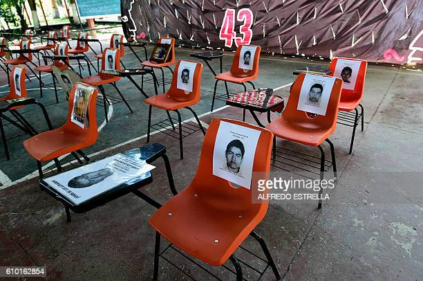View inside the assembly hall of the Raul Isidro Burgos rural teaching school in Ayotzinapa Guerrero state Mexico on September 21 2016 A UN human...
