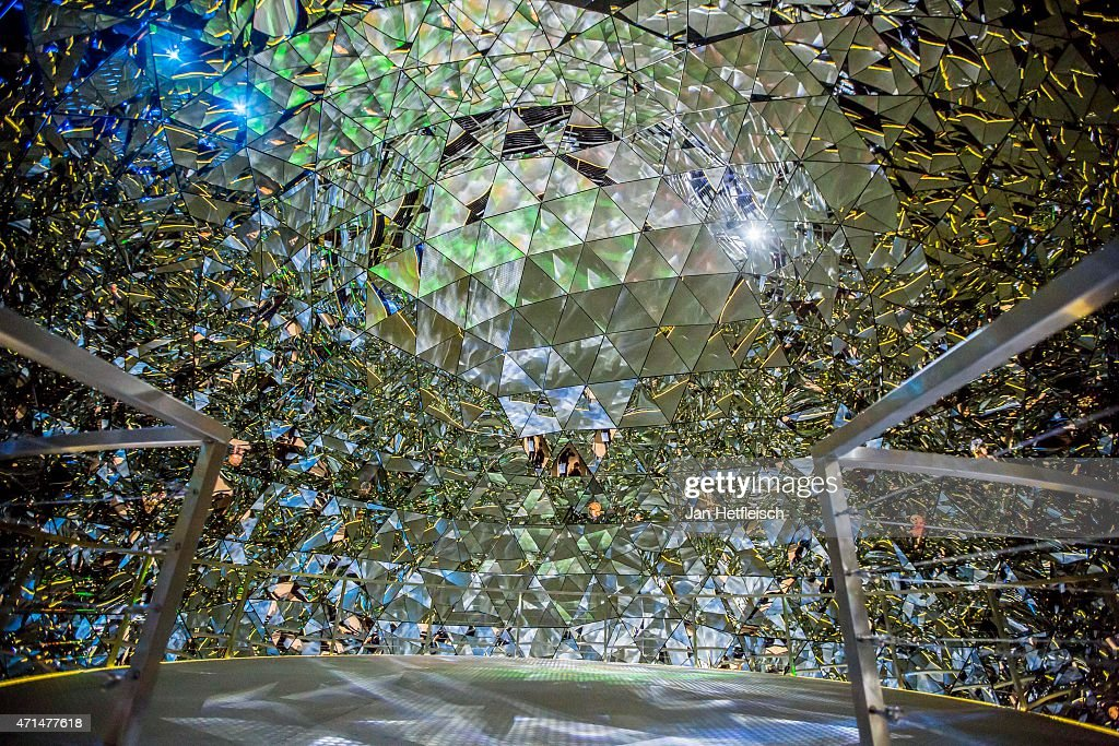 A view inside the big crystal dome inside the 'Giant' of the Swarovski Crystal Worlds during the grand reopening on April 28 2015 in Wattens Austria...