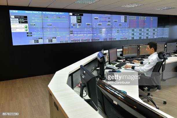 A view inside the control room of the Santo Antonio dam power station in Port Velho on September 22 2017 The mega dam located on the Madeira river in...