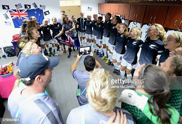 A view inside the dressing room of New Zealand prior to the FIFA U17 Women's World Cup Group C match between New Zealand and Spain at Ricardo...