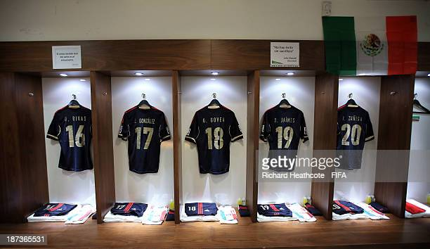 A view inside the Mexican dressing room before the FIFA U17 World Cup UAE 2013 Final between Nigeria and Mexico at the Mohamed Bin Zayed Stadium on...