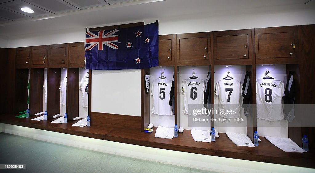 A view inside the New Zealand dressing room before the FIFA U-17 World Cup UAE 2013 Group B match between New Zealand and Ivory Coast at the Mohamed Bin Zayed Stadium on October 23, 2013 in Abu Dhabi, United Arab Emirates.