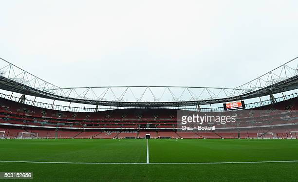 A view inside the stadium before the Barclays Premier League match between Arsenal and Newcastle United at Emirates Stadium on January 2 2016 in...