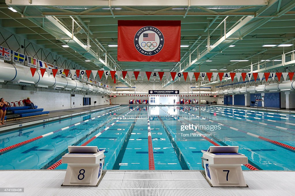 a view inside the swimming training center at the united states olympic training center on may
