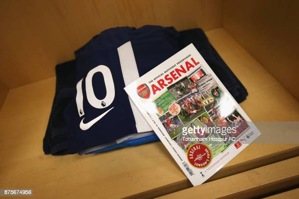 A view inside the Tottenham Hotspur changing room prior to the Premier League match between Arsenal and Tottenham Hotspur at Emirates Stadium on...