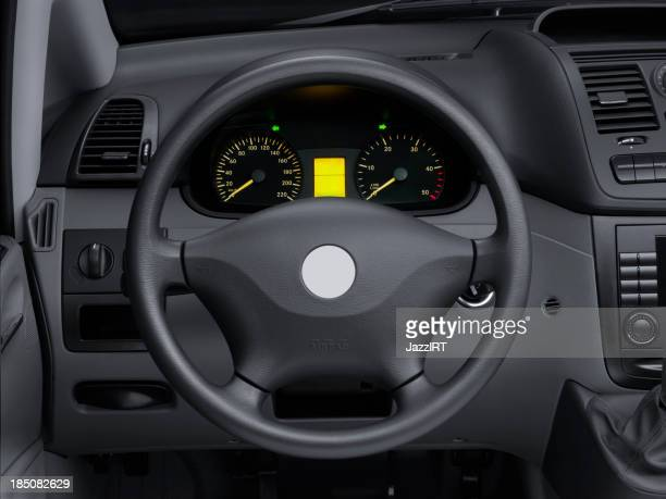 View interior car of a modern automobile showing dashboard