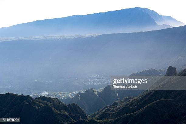 View into Cirque de Salazie with the village of Hell-Bourg surrounded by the volcanic caldera