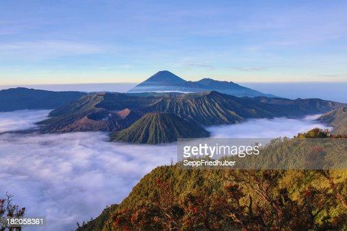 View into the caldera of Bromo volcano Java Indonesia