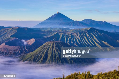 View into the caldera of Bromo volcano Java Indonesia