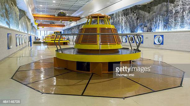 View into the turbine hall of the hydroelectric and pumped storage power station Saurdal which is part of the UllaForre hydropower complex on August...