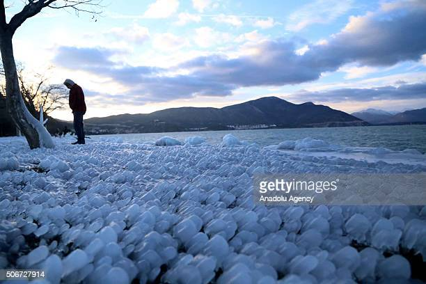 A view is seen from frozen 'Lake Egirdir' during cold winter time in Egirdir District of Turkey's southwestern Isparta Province on January 25 2016...