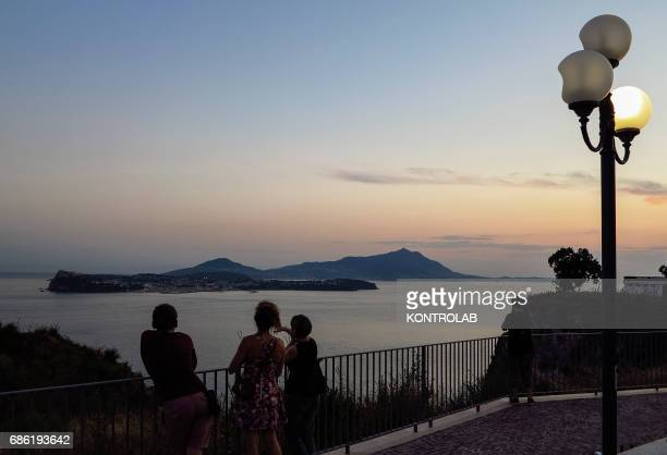 View Island Procida and Ischia sunset located in Campi Flegrei zone Campania region southern Italy