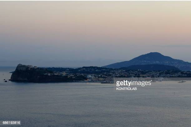 View Island Procida and Ischiasunset located in Campi Flegrei zone Campania region southern Italy