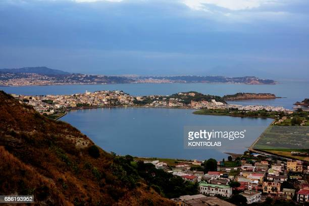 View lake Bacoli located in Campi Flegrei zone Campania region southern Italy
