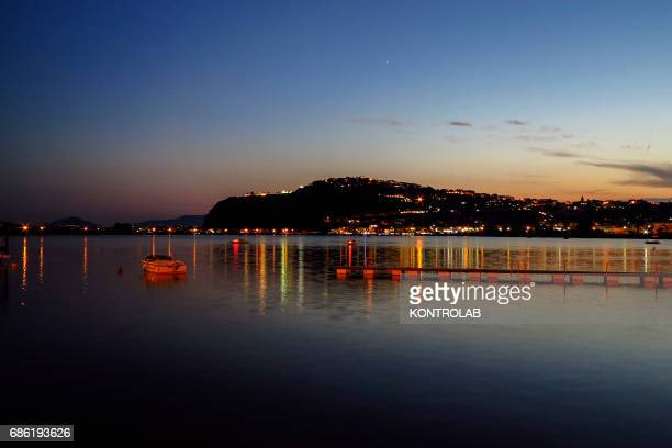 View lake Bacoli sunset located in Campi Flegrei zone Campania region southern Italy