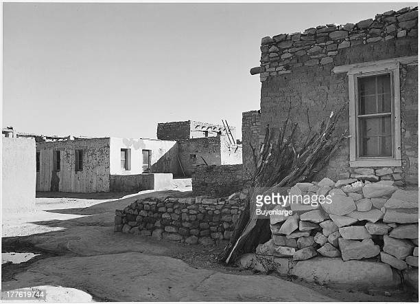 View looking across street toward houses Acoma Pueblo National Historic Landmark New Mexico 1942