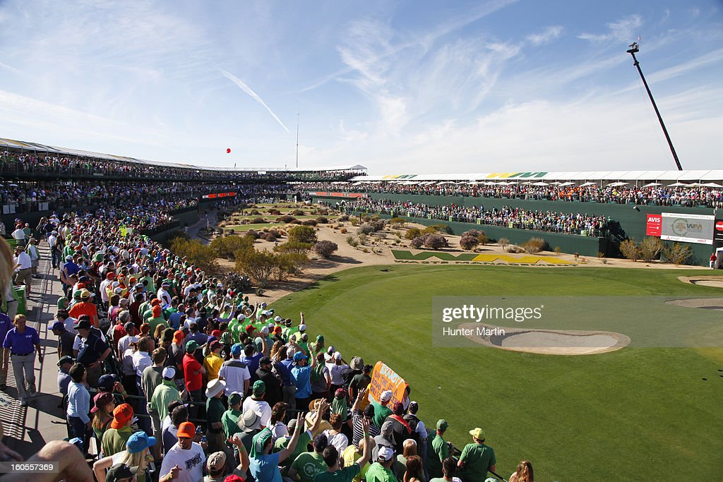 A view looking back at the tee on the 16th hole during the third round of the Waste Management Phoenix Open at TPC Scottsdale on February 2, 2013 in Scottsdale, Arizona.
