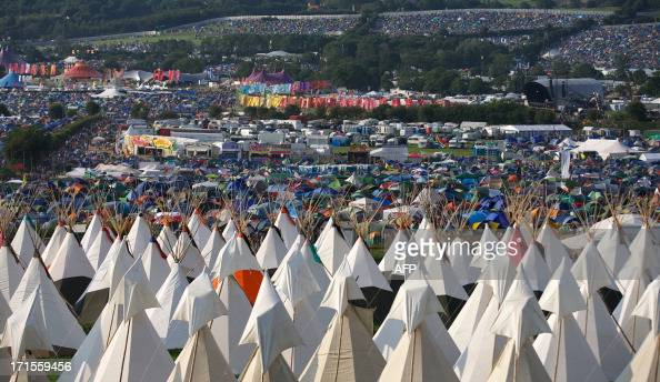 A view looking down on the campsite and music stages on the first day of the Glastonbury Festival of Contemporary Performing Arts near Glastonbury...