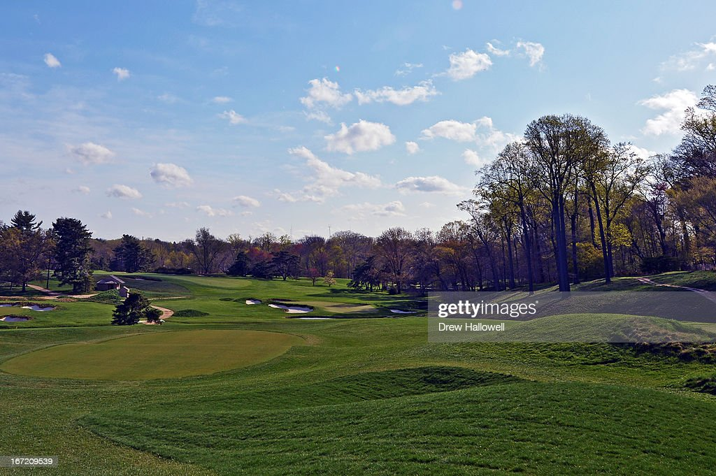A view looking down to the ninth hole on the East Course at Merion Golf Club on April 22, 2013 in Ardmore, Pennsylvania. Merion Golf Club is the site for the 2013 U.S. Open that will be played June 13-16.
