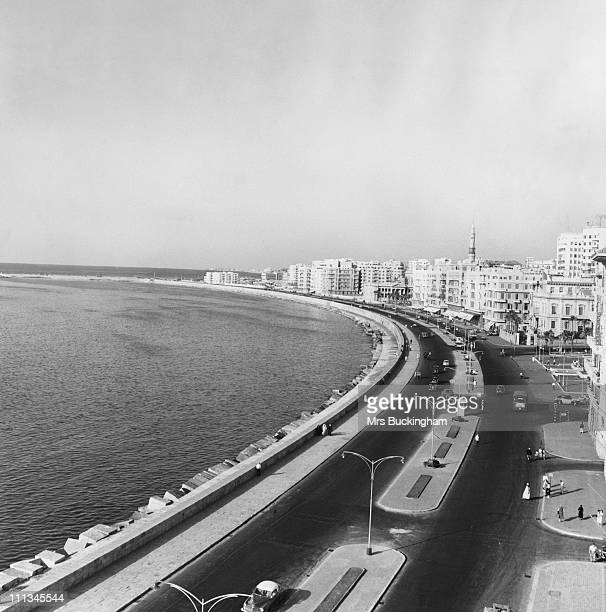 A view looking east from the Windsor Hotel over the Corniche Alexandria Egypt 1955