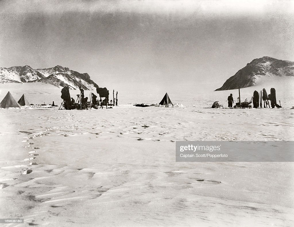A view looking north back towards the Gateway from the Lower Glacier Depot on Beardmore Glacier photographed during the last, tragic voyage to Antarctica by Captain Robert Falcon Scott on 11th December 1911. Scott was tutored by Herbert Ponting, the renowned photographer who was the camera artist to the expedition, which enabled Scott to take his own memorable pictures before perishing on his return from the South Pole on or after 29th March 1912.
