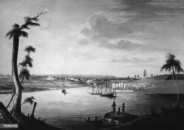 A view looking north to Sydney Cove and Port Jackson the chief British settlement in New South Wales Australia circa 1792 Painting by Thomas Watling