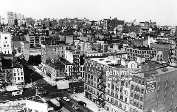 View looking northeast across the rooftops of Soho New York New York 1978 The view shows the interection of Canal Street and West Broadway