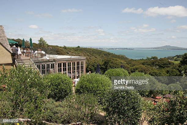 A view looking past the Mudbrick cafe on Waiheke Island over to Ranitoto Island to the right January 14 2005