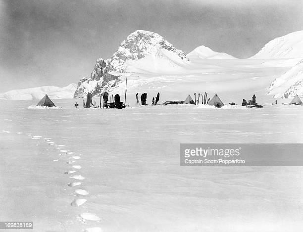 A view looking southsouthwest towards the Granite Pillars from the Lower Glacier Depot on the Beardmore Glacier photographed during the last tragic...