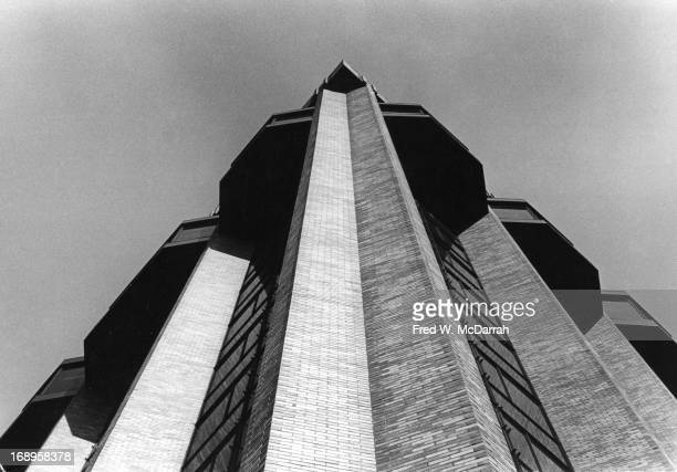 View looking up at the side of Warren Weaver Hall at New York University New York New York March 9 1965