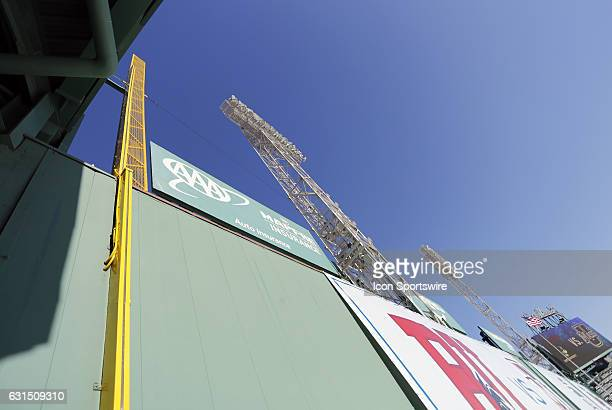 A view looking up the Green Monster and the Fisk pole before a Frozen Fenway NCAA Men's Division 1 hockey game between the Boston University Terriers...