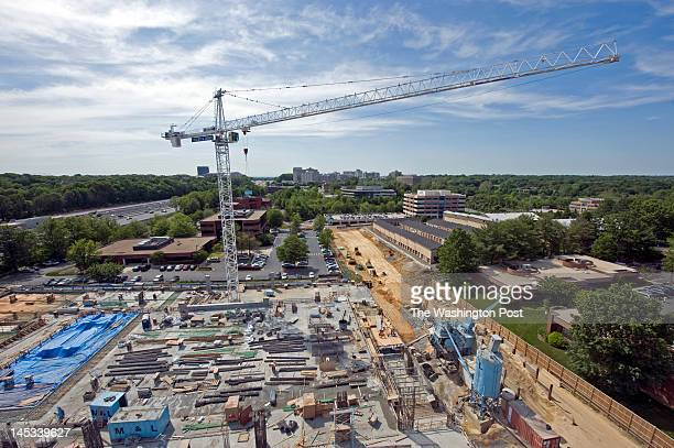 A view looking west toward Reston Town Center of Reston Station construction from a crane above the future Reston Station Parking garage on May 18 in...