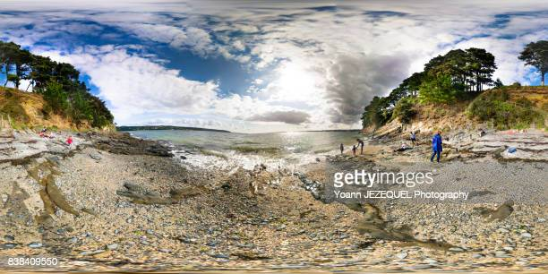 360° View nature scenery on a beach near Brest, France