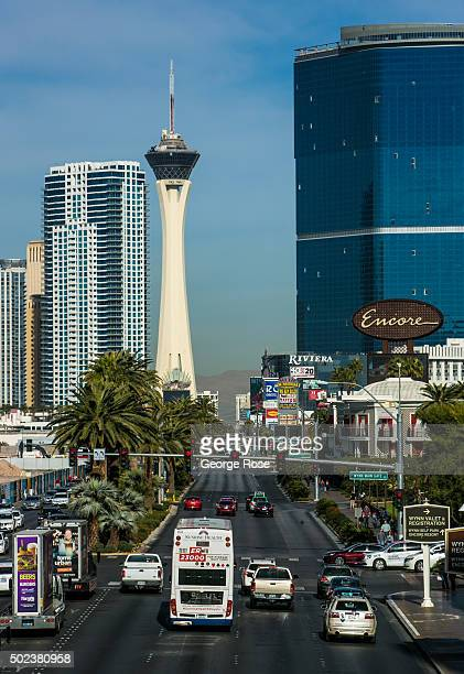 A view north along Las Vegas Blvd is seen from a pedestrian bridge at the Wynn Hotel Casino on December 7 2015 in Las Vegas Nevada Tourism in...