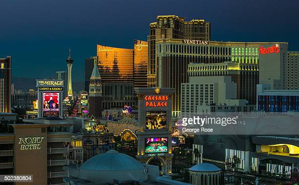 A view north along Las Vegas Blvd is seen from Caesars Palace Hotel Casino at sunset on December 7 2015 in Las Vegas Nevada Tourism in America's 'Sin...
