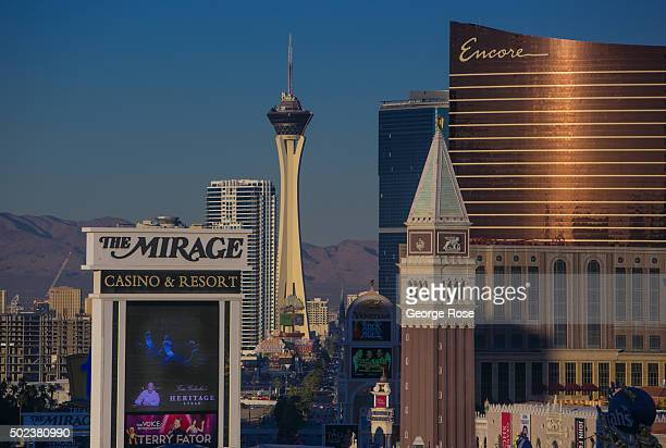 A view north along Las Vegas Blvd is viewed from Caesars Palace Hotel Casino on December 7 2015 in Las Vegas Nevada Tourism in America's 'Sin City'...