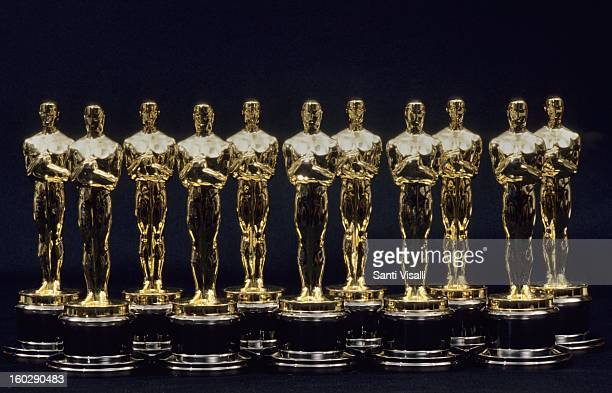 A view of 11 Oscars statues lined up next to each other in 1990 in Los Angeles California